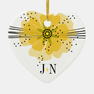 Pepper Poppies photo - yellow Ceramic Ornament