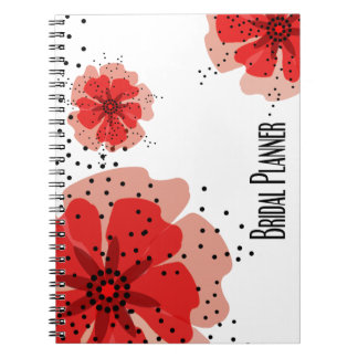 Pepper Poppies red bridal planner Spiral Notebook