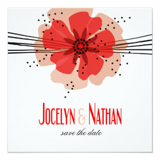 Pepper Poppies Save the Date red 5.25x5.25 Square Paper Invitation Card