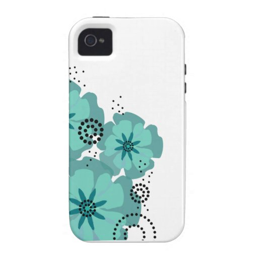 Pepper Poppies teal iPhone 4/4S Case