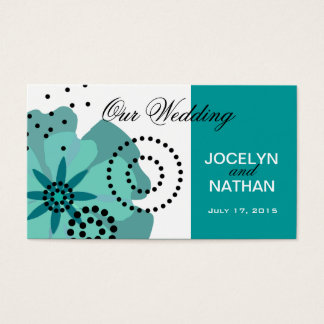 Pepper Poppies Wedding Website teal Business Card