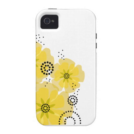 Pepper Poppies yellow iPhone 4 Covers