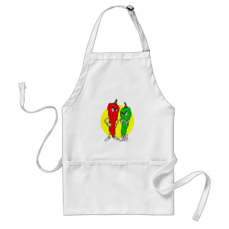 Pepper thugs red green w yellow ciricle aprons