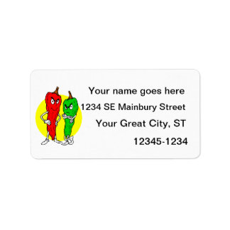 Pepper thugs red green w yellow ciricle personalized address label