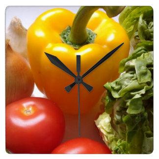 Pepper Tomatoes Vegetables Lettuce Food Wall Clock