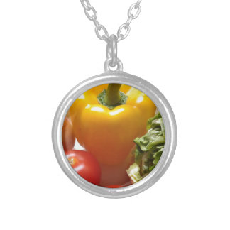 Pepper Tomatoes Vegetables Lettuce Healthy  Food Round Pendant Necklace
