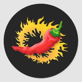 Pepper with flame classic round sticker