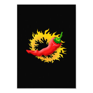 """Pepper with flame 3.5"""" x 5"""" invitation card"""