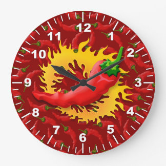 Pepper with flame large clock