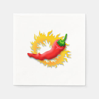 Pepper with flame paper napkin