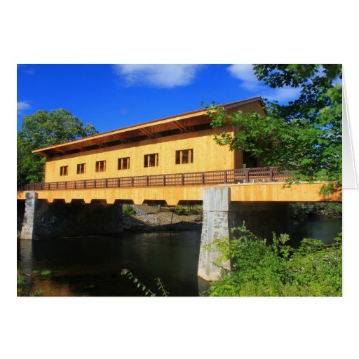 Pepperell MA New Covered Bridge River View Greeting Cards
