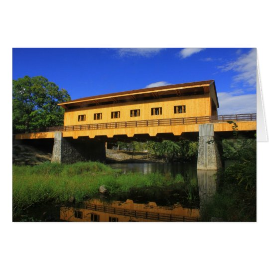 Pepperell MA New Covered Bridge River View Card