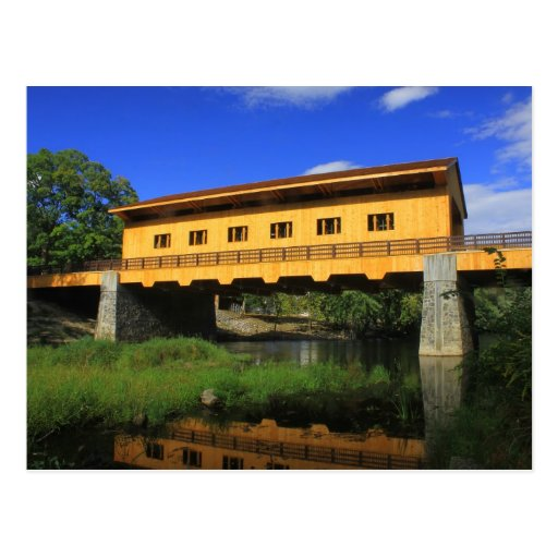 Pepperell MA New Covered Bridge River View Postcard
