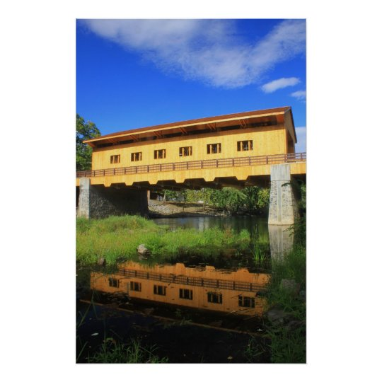 Pepperell MA New Covered Bridge River View Poster
