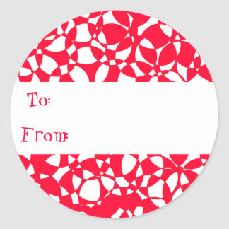 PEPPERMINT ABSTRACT CHRISTMAS GIFT TAG STICKER