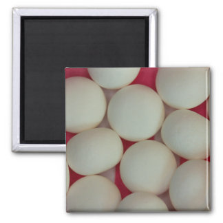 Peppermint Balls on Red & White Striped Paper Magnet