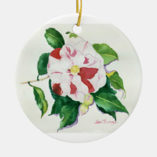 Peppermint Camellia Ornament