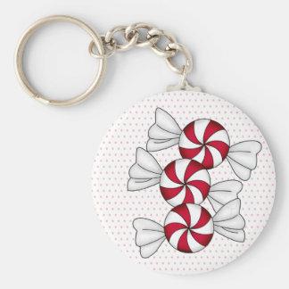 Peppermint Candies Basic Round Button Keychain