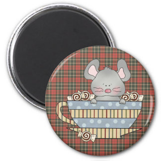 peppermint candies christmas mouse cup 2 inch round magnet