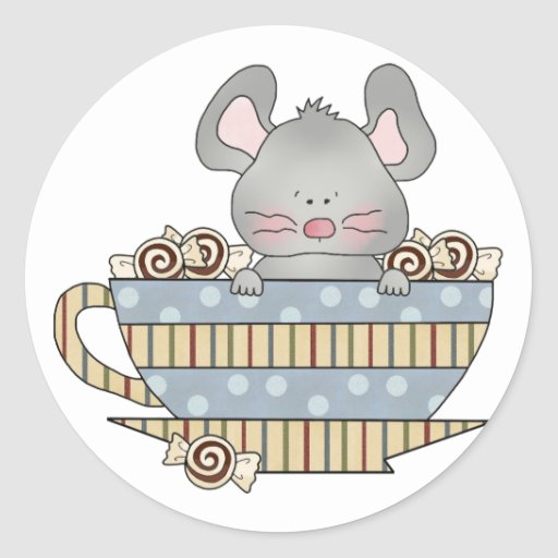 peppermint candies christmas mouse cup round stickers
