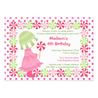 Peppermint Candy and Polkadots Girls Birthday Personalized Invite