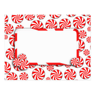 Peppermint Candy Background w/ Removable Tag Postcard