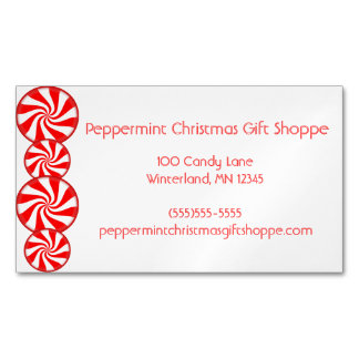 Peppermint Candy Business Card Magnet