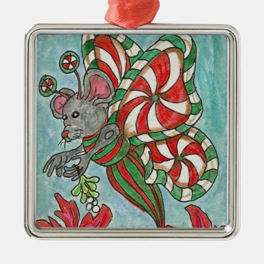 Peppermint Candy Butterfly Mouse Holiday Art Metal Ornament