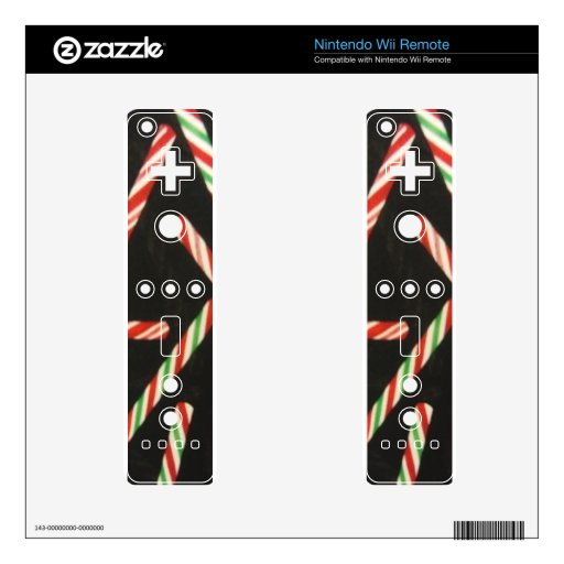 Peppermint Candy Cane Sticks Decal For Wii Remote