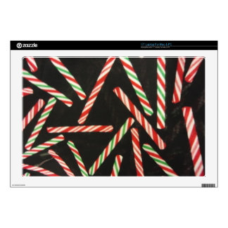"""Peppermint Candy Cane Sticks Decals For 17"""" Laptops"""