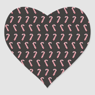 Peppermint Candy Canes on Black Heart Sticker