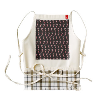Peppermint Candy Canes on Black Zazzle HEART Apron