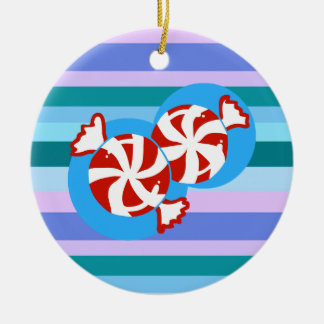 Peppermint Candy Ceramic Ornament