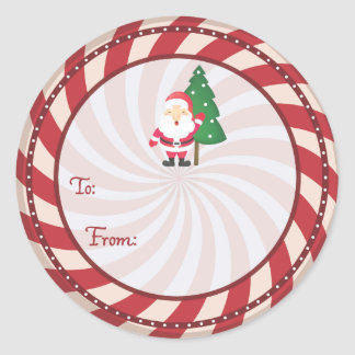 Peppermint candy Christmas gift tag Sticker
