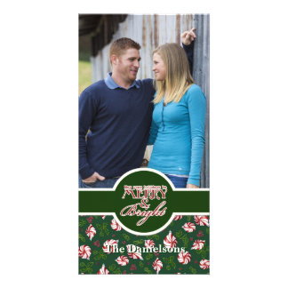 Peppermint Candy Christmas Modern Ornaments Card