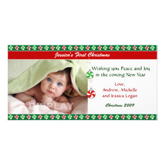 Peppermint Candy First Christmas Photo Card