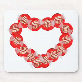 Peppermint Candy Heart Wreath Mouse Pad