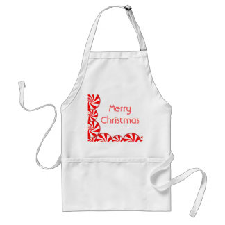Peppermint Candy Merry Christmas Adult Apron