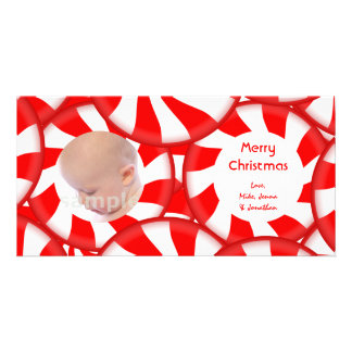 Peppermint Candy Merry Christmas Custom Photo Card