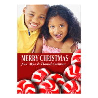 Peppermint Candy Merry Christmas Photo Greeting Personalized Announcements