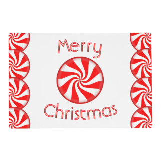 Peppermint Candy Merry Christmas Placemat