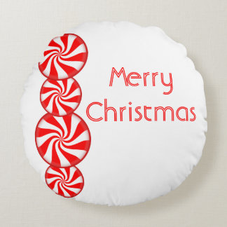 Peppermint Candy Merry Christmas Round Pillow