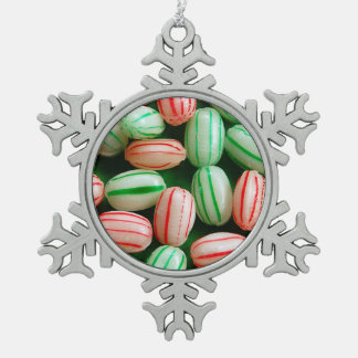 Peppermint candy print christmas ornament