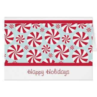 Peppermint Candy Red and Blue Holiday Card