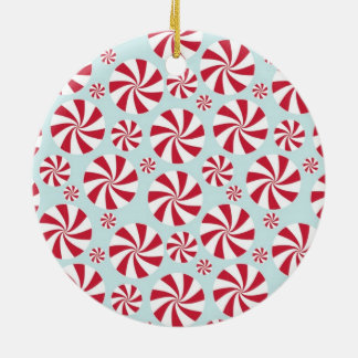Peppermint Candy Red and Blue Holiday Ceramic Ornament