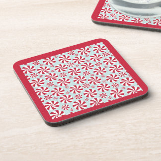 Peppermint Candy Red and Blue Holiday Drink Coaster