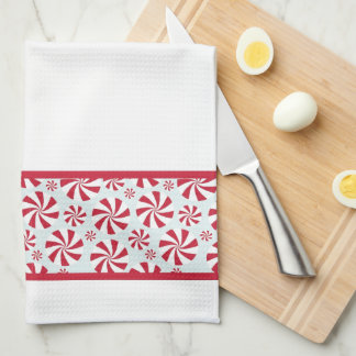 Peppermint Candy Red and Blue Holiday Hand Towel