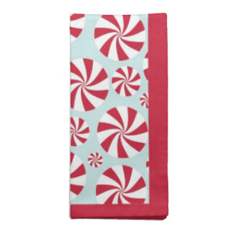 Peppermint Candy Red and Blue Holiday Napkin