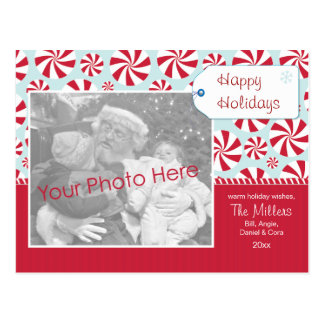 Peppermint Candy Red and Blue Holiday Personalized Postcard