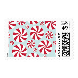 Peppermint Candy Red and Blue Holiday Postage Stamp